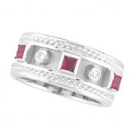 Antique Style Ruby & Diamond Ring, 14K White Gold