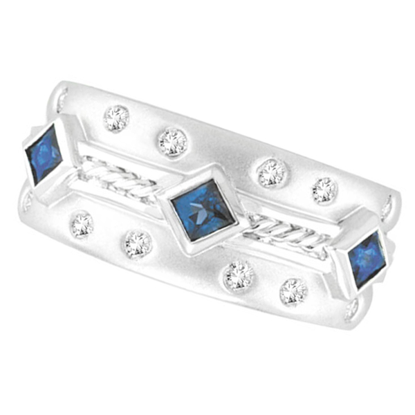 Antique Style Sapphire & Diamond Fashion Ring, 14K White Gold. Price: $1332.67