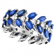 Blue Sapphire and Diamond Eternity Ring Band