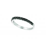 Black Diamond Stackable Ring, 14K White Gold