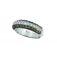 Champagne & White Diamond Fashion Ring, 14K White Gold