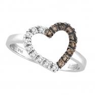 Champagne & White Diamond Heart Ring