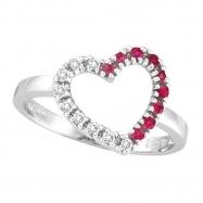 Diamond & Pink Sapphire Heart Ring
