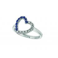 Diamond & Sapphire Heart Ring