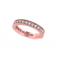 Diamond Eternity Band Ring Pink Gold