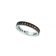 Champagne Diamond Eternity Ring 14K White Gold