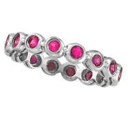 Bezel Set Eternity Pink Sapphire Ring Band