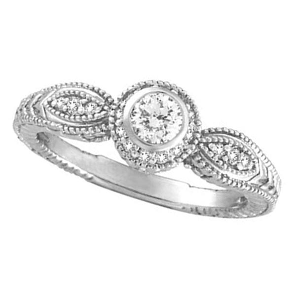 Bezel Diamond Ring 14K White Gold. Price: $1196.00
