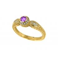 Pink Sapphire Bezel Ring with Diamond