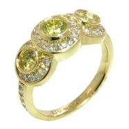 Yellow Diamond 3 stones Ring
