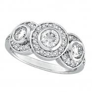 Diamond Bezel 3 Three Stone Ring