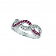 Pink sapphire & diamond twisted ring