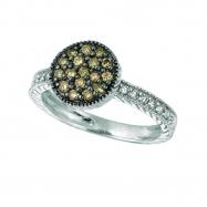 Champagne & white diamond round ring