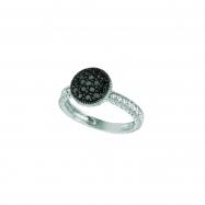Black & white diamond round ring