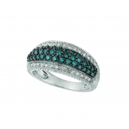 Blue & white diamond pave ring