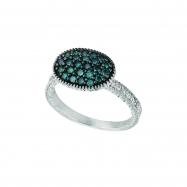 Blue & white diamond oval shape ring
