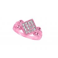 Diamond square shape ring