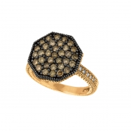 Champagne & white diamond octagonal shape ring