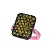 Champagne & white diamond rectangular ring