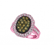 Champagne & white diamond oval ring