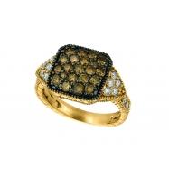 Champagne & white diamond ring