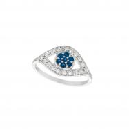 Diamond & sapphire eye ring
