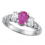 Pink Sapphire Three Stone Diamond Engagement Ring