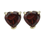 HEART SHAPE DARK RED GARNET PRONG SET STUDS