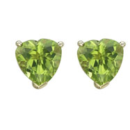 HEART SHAPE GREEN PERIDOT PRONG SET STUDS