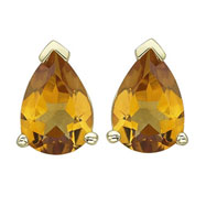 PEAR SHAPE YELLOW CITRINE PRONG SET STUDS