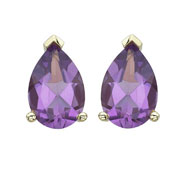 Pear Shape Purple Amethyst Prong Set Studs