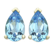 Pear Shape Blue Topaz Prong Set Studs