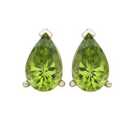 Pear Shape Peridot Prong Set Studs