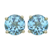Round Blue Topaz Prong Set Studs