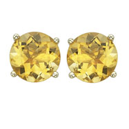 ROUND YELLOW CITRINE PRONG SET STUDS