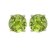 ROUND GREEN PERIDOT PRONG SET STUDS
