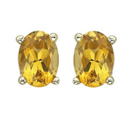 OVAL SHAPE CITRINE PRONG SET STUDS