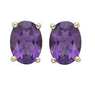 OVAL SHAPE AMETHYST PRONG SET STUDS