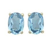 OVAL SHAPE BLUE TOPAZ PRONG SET STUDS