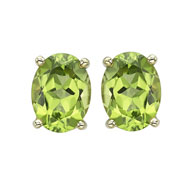 OVAL SHAPE PERIDOT PRONG SET STUDS