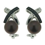 Diamond Brown Fresh Water Pearl Earrings