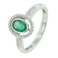 14K White Gold Emerald & Diamond Ring