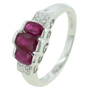 14K White Gold Ruby & Diamond Ring