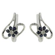14K White Gold Blue Sapphire & Diamond Earrings
