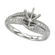 14K White Gold Round Diamonds Semi-Mount Ring