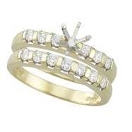 14K Yellow Gold Diamonds Semi-Mount Ring