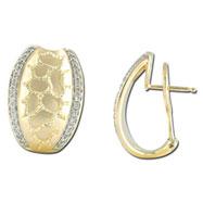 14K Two-Tone Gold Diamond Earrings