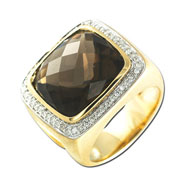 14K Yellow Gold Diamond & Topaz Ring