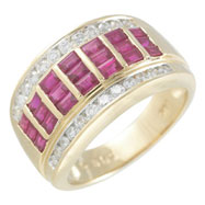 14K Yellow Gold Baguette Ruby & Round Diamond Ring