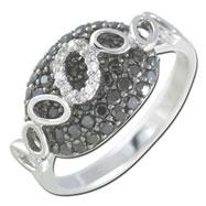 14k White Gold Black & White Fashion Diamond Ring